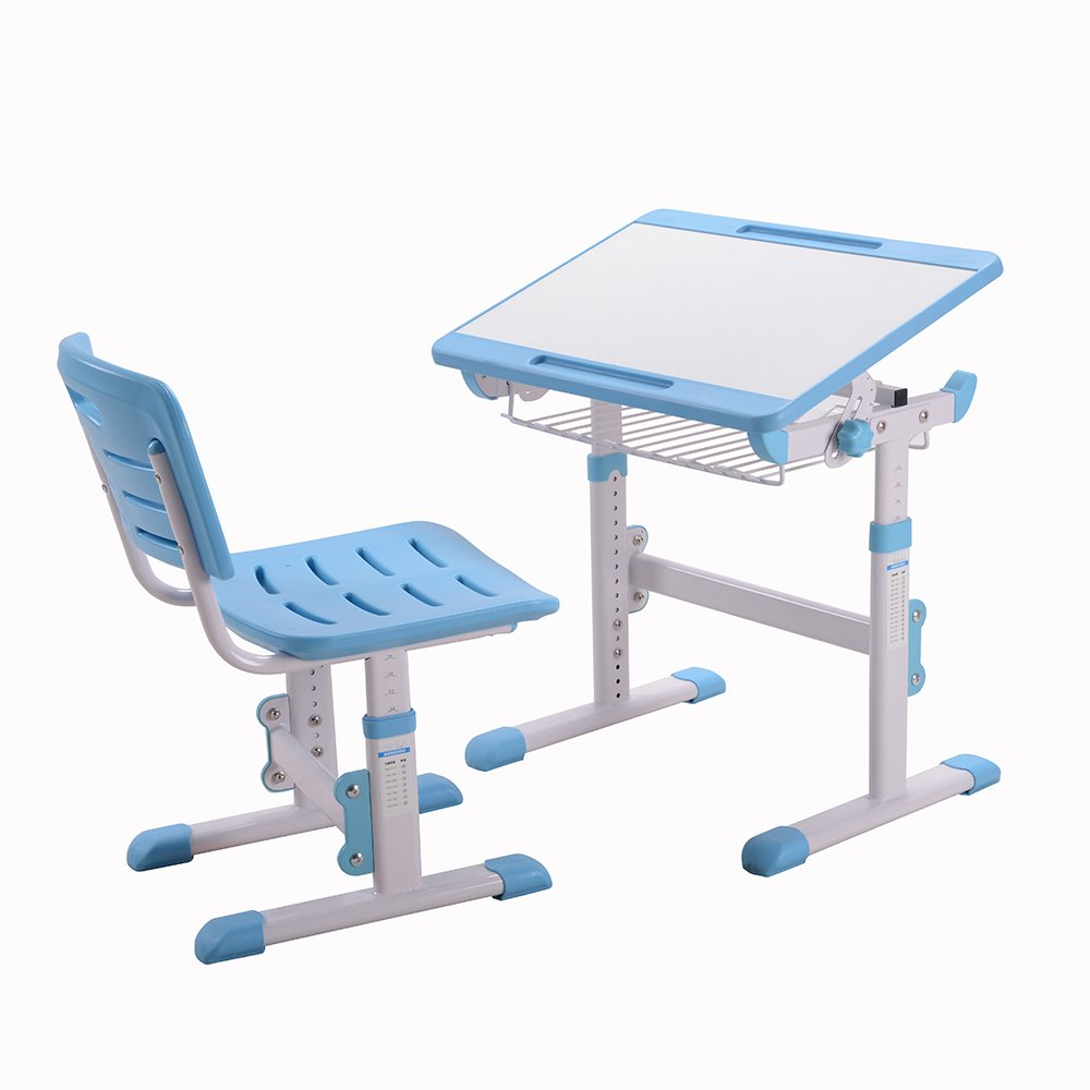 Children Desk Height Adjustable Kids Table and Chair Mini Blue Desk 1